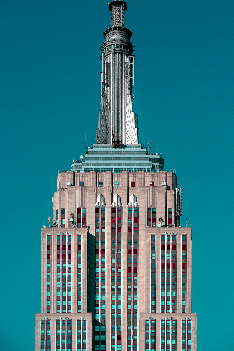 The iconic art deco top of the Empire State Building in New York.