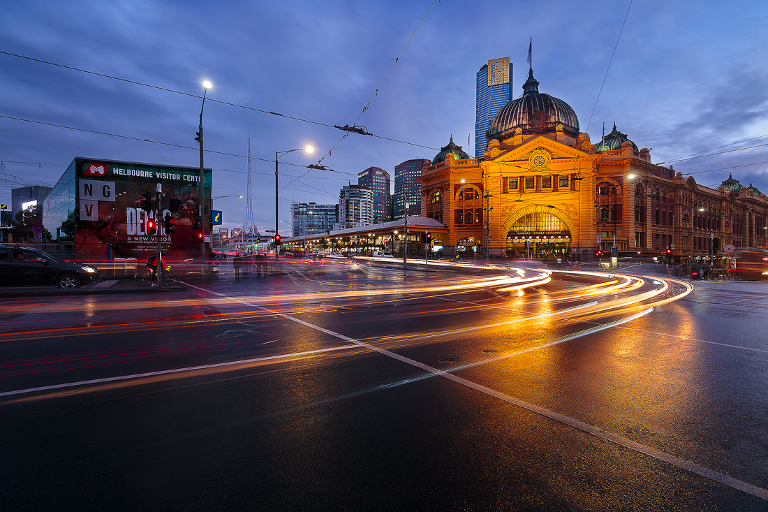 Dusk at the heart of Melbourne, Flinders Street Station and Federation Square