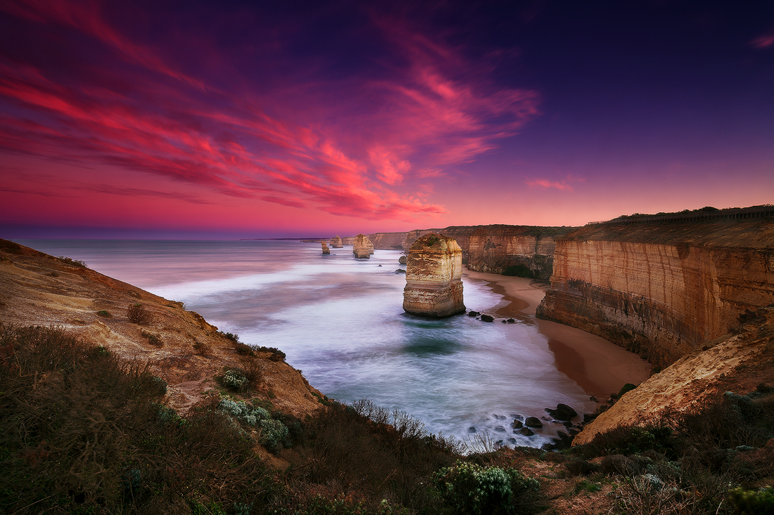 A fire in the sky above the 12 Apostles on the Great Ocean Road