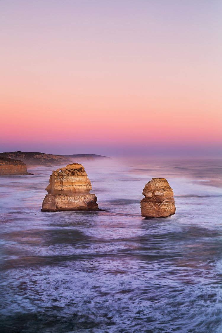 A pastel morning with God and Magog on the Great Ocean Road