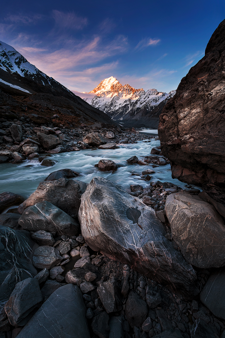 The last light of the day shining on Aoraki with Hooker River