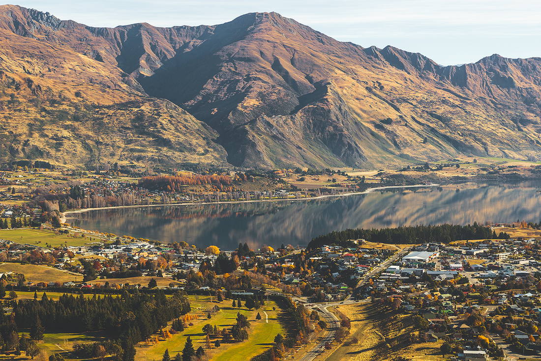 Overlooking the lakeside town of Wanaka, New Zealand