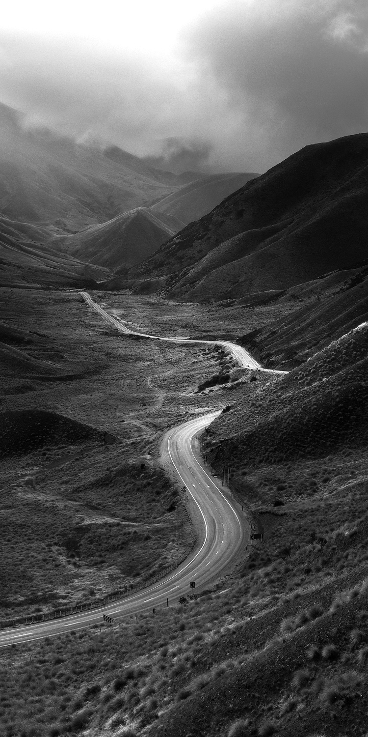 Moody views of Lindis Pass in New Zealand's south island.
