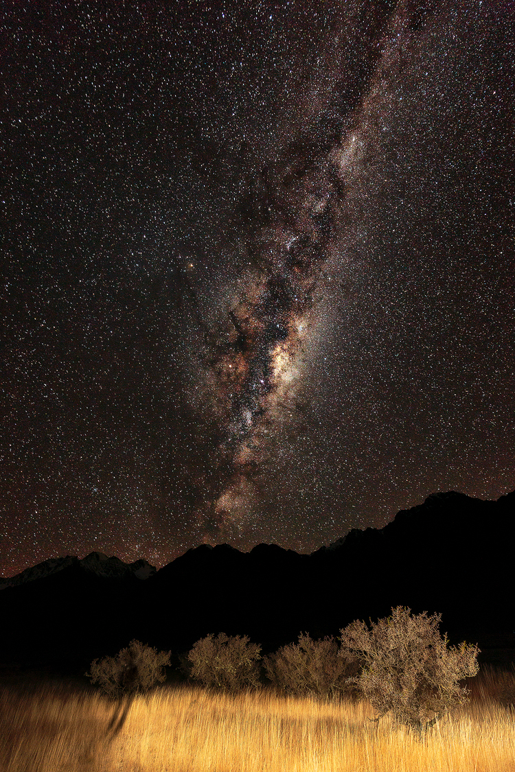 The stars dance above the sleeping giants of New Zealand's southern alps