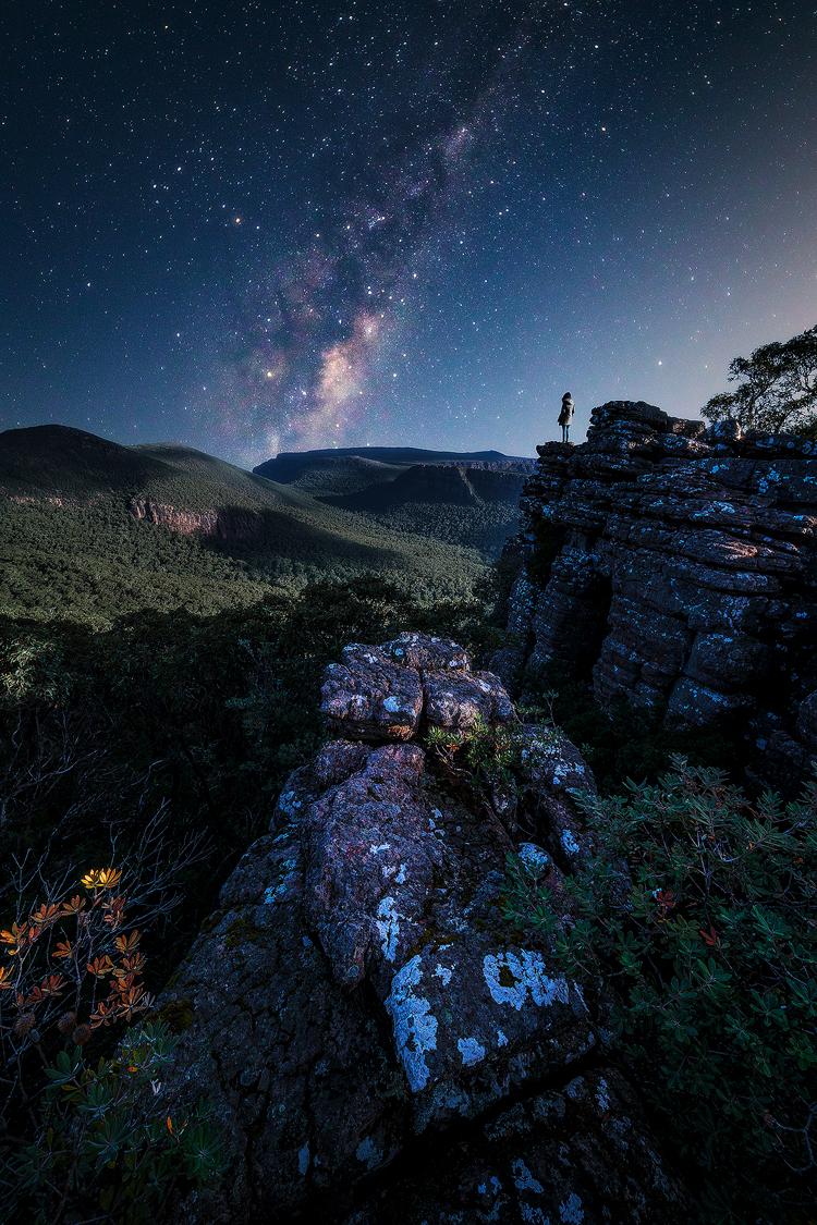 Stars glisten over the Grampians National Park in Victoria, Australia