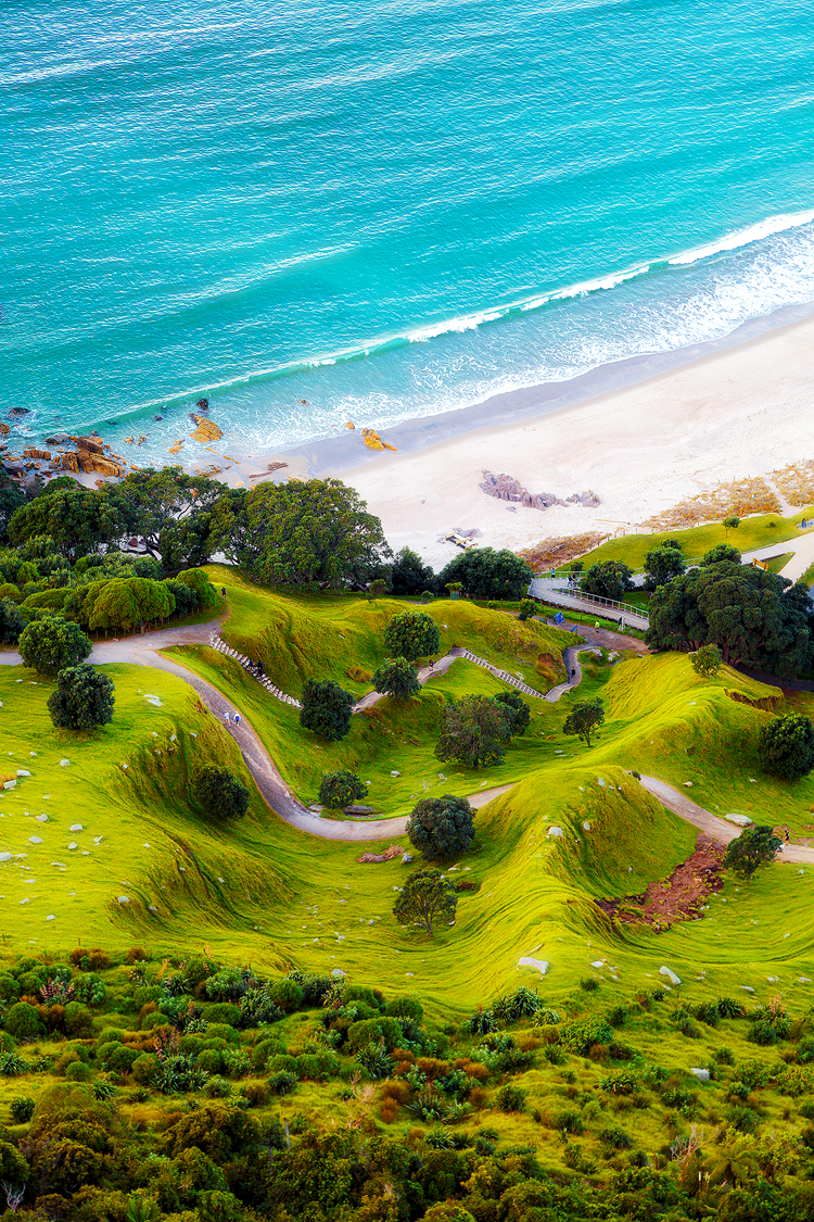 The folded base of Mount Maunganui, New Zealand