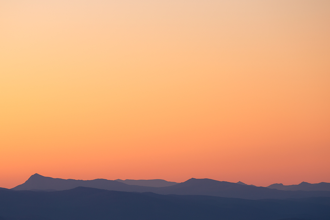 Layered hills and clear skies surrounding Hobart, Tasmania